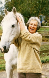 K M Peyton with her horse